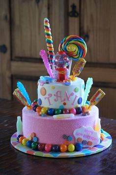 Tiered Candy Themed Birthday Cake With Pink Pressed Sugar Adult Cakes