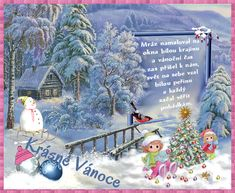 vanoce14.gif (692×568) Christmas Images, Christmas And New Year, Christmas Time, Merry Christmas, Snowman, Painting, Weihnachten, Basteln, Merry Little Christmas