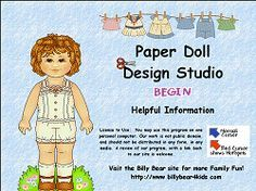 Paper Doll Design Studio Program to create your very own paperdoll - You'll find that the basket is filled with painting tools that you can use to color your paperdoll and her outfits. Pick your tool to draw a masterpiece artwork! There are several to pick from... draw crayon, box of crayons, stamper, paint with stamps brush, fill tool, spray paint... you can even add text. You can set the sizes on the draw crayon, box of crayons and spray paint tools. You can select several outfits (over…