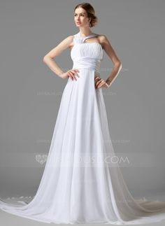 Wedding Dresses - $135.99 - Empire One-Shoulder Court Train Chiffon Charmeuse Wedding Dress With Ruffle Flower(s) (002000447) http://jjshouse.com/Empire-One-Shoulder-Court-Train-Chiffon-Charmeuse-Wedding-Dress-With-Ruffle-Flower-S-002000447-g447?ver=xdegc7h0