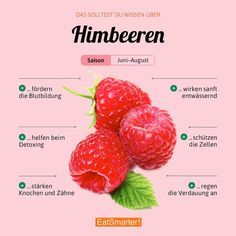 Im Juni beginnt die Himbeer-Saison. Was werdet ihr als erstes mit den Beeren zub… The raspberry season starts in June. What will you do first with the berries? Healthy Diet Plans, Healthy Eating, Healthy Recipes, Tapas, Food Facts, Eat Smarter, Superfood, How To Stay Healthy, Raspberry