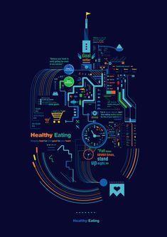 Un'infografica sulla dieta corretta: mangiare sano non è mai stato così divertente.
