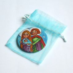 Holy Family pocket mirror Compact mirror Small hand mirror Baby girl shower favors Little girl purse mirror favors Baby girl baptism gift