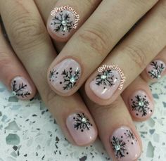 Nude and black Snow flakes, Christmas nails