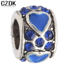 BE-62 Fashion Antique Silver Bead Charm Bead European Big Hole Loose Bead Amazing Crystal Heart Fit BIAGI Bracelet