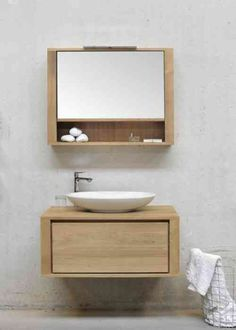 Bathroom mirror cabinets are strong on the rise. Both components - wall mirror and Cabinet are just esentiell for the bathroom facility. Bathroom Furniture, Vanity, Mirror Cabinets, Stylish Bathroom, Bathroom Vanity, Bathroom Mirror Cabinet, Wood Bathroom, Washbasin Design, Ethnicraft