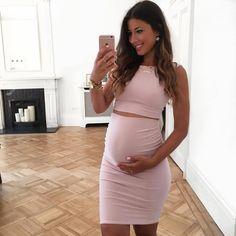 Mimi Ikonn Preggo Style Mimi Ikonn Pregnant Pink Pencil Skirt Crop Top