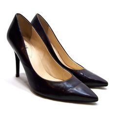 GUESS Womens StilettoHigh Heels Size 7.5 Black Leather Pumps Pointy Toe #GUESS #Stilettos #Formal