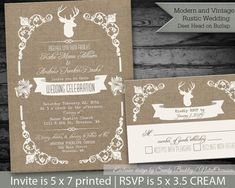 Deer head wedding invitations. Rustic deer and antler silhouette vintage wedding invitations suite. The wedding invitation (5x7) has a burlap