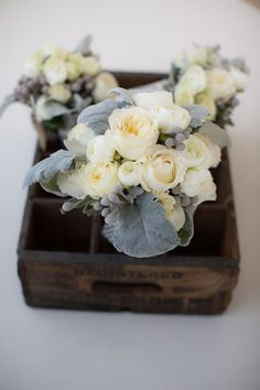 Flowers from the bride's bouquet were grown in a greenhouse and later arranged by a floral designer.
