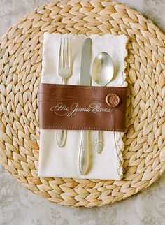 "Leather napkin treatment woven base ""plate"" from @Lisa Vorce. Photography by @Elizabeth Messina #wedding"