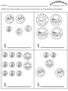 Summer Worksheets, Money Worksheets, 1st Grade Worksheets, 3rd Grade Math, Grade 2, Kindergarten Workbooks, Preschool Math, Teaching Math, Learning French For Kids