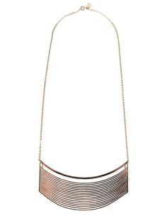 Metallic 'Esterel' pendent vintage necklace from Jacques Esterel Vintage featuring a multi-vertical panel metallic pendent and a long metallic chain with adjustable clasp fastening. Please note that vintage items are not new but often between 1985 and the end of 90´s, and therefore will always have minor imperfections, even when the items have been used and worn with love and care.