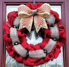 OSU Red Burlap Wreath with Gray, Polka Dot, and Chevron Bow, Sports Wreath, Ohio State Buckeyes