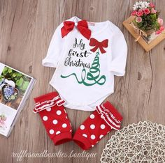 Baby Girls First Christmas Outfit - 3 piece Christmas Outfit - Girls Christmas Outfit - Christmas Romper - Baby Christmas Outfit - My First Christmas