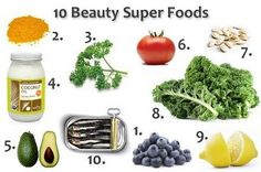 "BEAUTY SUPER FOODS ❥➥ ❥   1. Blueberries  2. Turmeric  3. Parsley  4. Coconut oil  5. Avocado  6. Tomatoes  7. Pumpkin Seeds  8. Kale  9. Lemon  10. Sardines    I eat 9 of them (no sardines for this gal) ❥➥ ❥ how many of these ""Beauty Super Foods"" do YOU eat?"