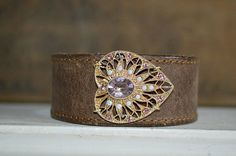 Women's  Brown Leather Blush Pink Rhinestone Heart Bracelet Cuff, Vintage Dress Clip. on Etsy, $54.00