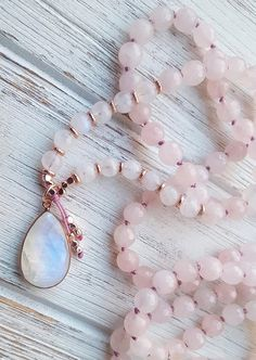 Divine Feminine Moonstone Mala Necklace Moonstone & Rose