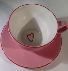 Adorable pink Starbucks teacup and saucer.perfect for Valentine's Day. This item has been SOLD but do visit my store for more Starbucks (and pink) items! Pink Starbucks, Starbucks Coffee, Pink Tea Cups, Cute Tea Cups, My Cup Of Tea, It Goes On, Cute Mugs, Mug Cup, Ceramic Pottery