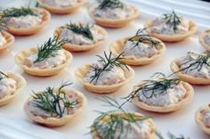 Smoked Salmon Spread in Phyllo Cups: salmon, cream cheese, dill and lemon in phyllo cups topped with a sprig of fresh dill