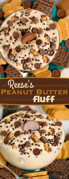 Reese's Peanut Butter Fluff is an easy and delicious dip or dessert that can be made in just 5 minutes and is perfect for family gatherings, BBQs or game day. Serve with chocolate graham crackers and peanut butter cookies as dippers. Fluff Desserts, Dessert Dips, Oreo Dessert, 13 Desserts, Dessert Recipes, Appetizer Dessert, Party Appetizers, 5 Minute Desserts, Crackers Appetizers
