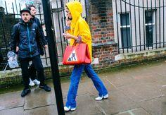 Sofía Sanchez de Betak in Topshop raincoat and Anya Hindmarch bag