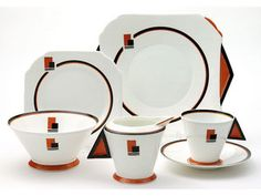 1930s Shelley Art Deco Tea Set, Vogue Pattern
