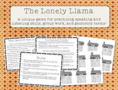 """This is a set of cards made to play the game """"lonesome llama."""" This game requires the kids to use their speaking and… First Day Of School Activities, Fun Math Activities, Math Games For Kids, Learning Resources, Teacher Resources, Elementary Math, Kindergarten Math, Teaching Math, Fifth Grade Math"""
