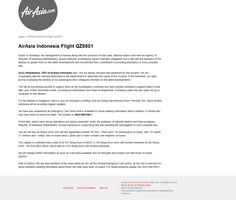 Crisis page for lost AirAsia flight QZ8501 at http://crisis.airasia.com