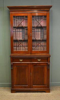 Antique Walnut Edwardian Glazed Bookcase