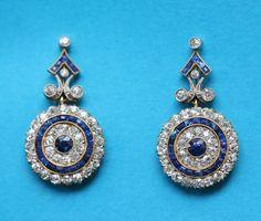 Sapphire, diamond, gold and platinum earrings, England, circa 1910.