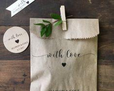 Wedding Favors - Custom Printed Favor Bags - Recycled Wedding - Treat bag Goodie Bag - Bridal Shower Favors- 25 pack