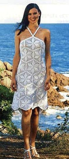 Light summer crocheted dress (pattern and scheme  included).