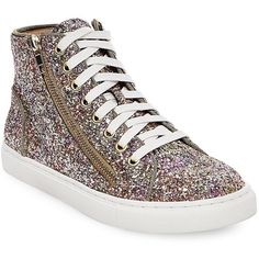 Steve Madden Earnst-G High-Top Glitter Sneakers ($89) ❤ liked on Polyvore featuring shoes, sneakers, multi colored, multi colored sneakers, hi tops, zipper sneakers, high top shoes and high top zipper sneakers