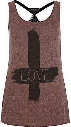 #River Island             #love                     #love #cross #print #tank                           Red love cross print tank top                                                 http://www.seapai.com/product.aspx?PID=228018