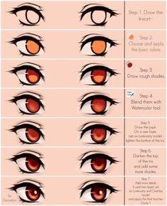 Eyes coloring tutorial by Maruvie art tips procreate Cute green eyes Steps by Maruvie on DeviantArt Eye Drawing Tutorials, Drawing Techniques, Drawing Tips, Art Tutorials, Drawing Sketches, Eye Drawings, Drawing Faces, Drawing Ideas, Girl Eyes Drawing