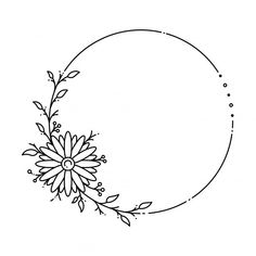 Hand Embroidery Patterns Flowers, Floral Embroidery, Flower Patterns, Flower Pattern Design, Flower Circle, Flower Frame, Wreath Drawing, Custom Stamps, Floral Border