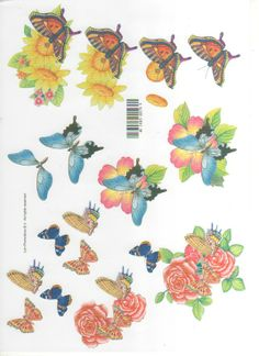 butterflies and flowers - 3D card embelishments