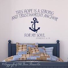 This hope is a strong...anchor for my soul - vinyl wall scripture bible quote decal..Beach House