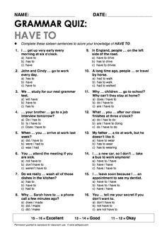 """""""Have to"""" Grammar Quiz Repinned by Chesapeake College Adult Ed. We offer free classes on the Eastern Shore of MD to help you earn your GED - H.S. Diploma or Learn English (ESL). www.Chesapeake.edu"""