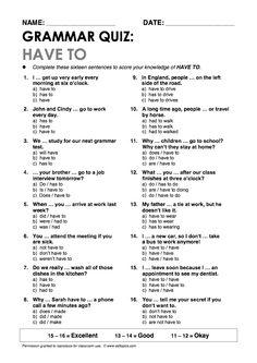 """Have to"" Grammar Quiz"