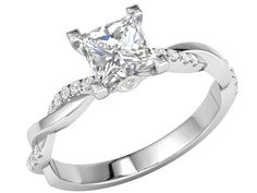 Inel de Logodna Solitaire cu Diamante Mici pe Lateral Dama Aur Alb 18kt cu un Diamant Princess si Diamante Rotunde, Design Impletit Model.#: RD793W