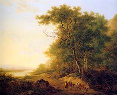 Mountainous landscape with travellers - Jacob van Strij