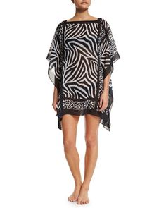 127 euro Overland+Animal-Print+Georgette+Coverup+Tunic+by+Carmen+Marc+Valvo+at+Neiman+Marcus.