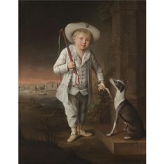 Attributed to Johann Heinrich Christian Franke, Portrait of Christian Hohenzollern, wearing a white costume and hat, with his pet whippet by the River Oder, the Castle of Schwedt beyond. 1772. Sotheby's