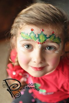 "One Stroke ""Holly Princess"" Crown by: Amanda Moody, Daydream Face Painting @moodygirl1 #christmas #christmasfacepaint #facepaint #holiday #holly #princess #princesscrown"