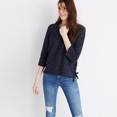 Madewell+-+Striped+Side-Lace+Top