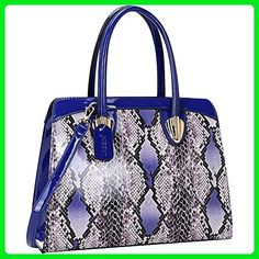 Dasein Patent Faux Leather with Snake Skin Detail Shoulder Bag (Royal Blue) - Top handle bags (*Amazon Partner-Link)