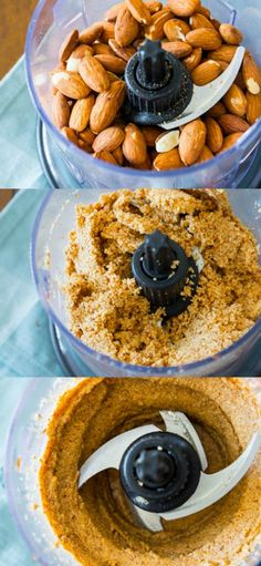 How to make homemade almond butter- so much cheaper than store-bought and it's SO EASY!! Healthy recipe found on sallysbakingaddiction.com