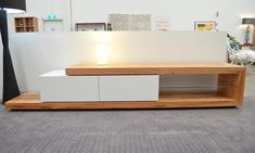 Platform Entertainment Unit Two Drawers with White Fronts Push Release / Glass Shelf Available in Jarrah or Marri 2700 x 500 x H WA Made Tv Unit, Glass Shelves, Dining Furniture, Drawers, Platform, Storage, Entertainment Units, Table, Desk